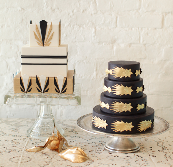 gatsby gold wedding cake for industrial chic wedding