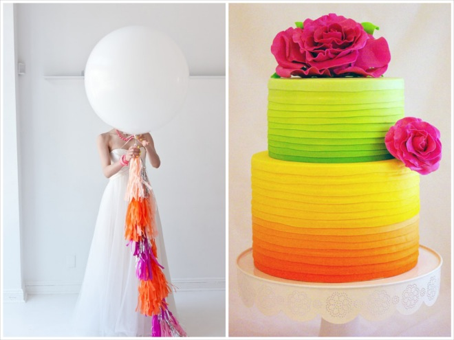 bride with giant balloon and neon ribbon on left, neon wedding cake on right with orange, green and pink ombre