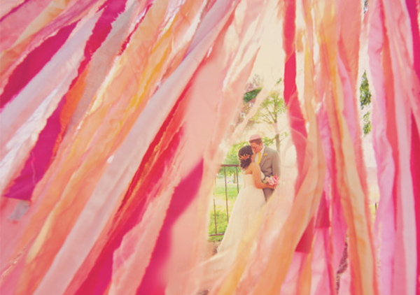Peach, Wedding, Streamers, DIY, Kiss
