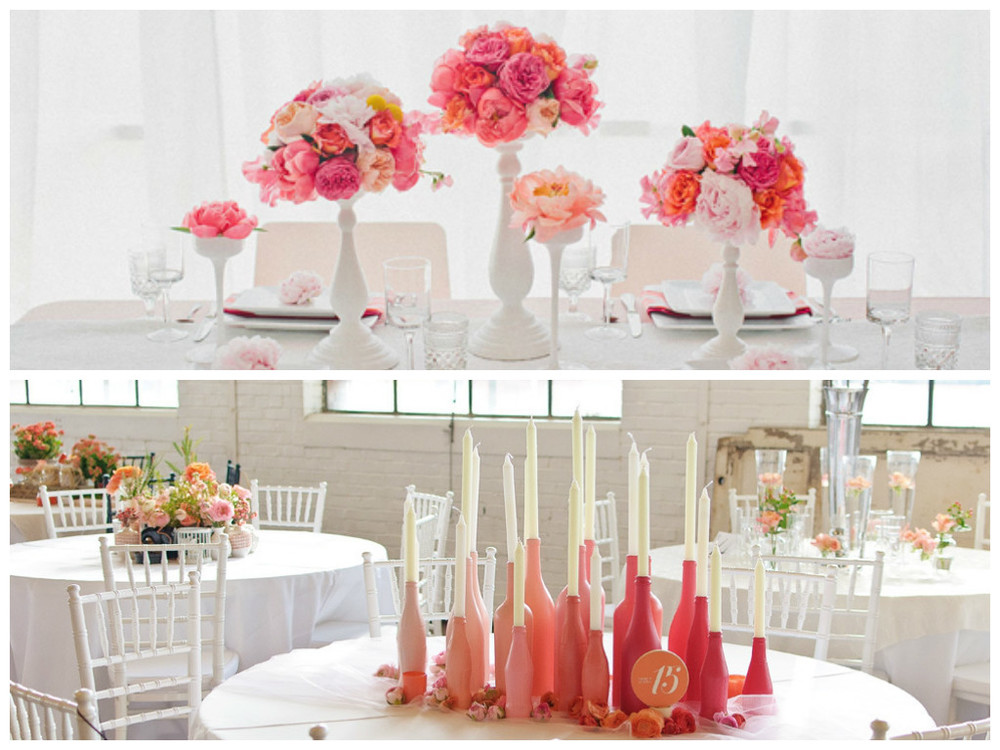 Peach, Wedding, Table, Centerpieces, Flowers, Vases, DIY, Candles