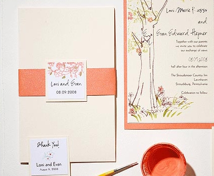Peach, Wedding, Stationery, Invitation, Pastels, Pink