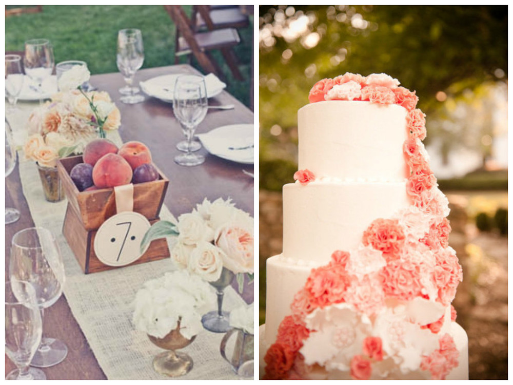 Peach, Wedding, Tables, Cake, Layers, Peaches, Centerpieces, Rustic, Outdoor
