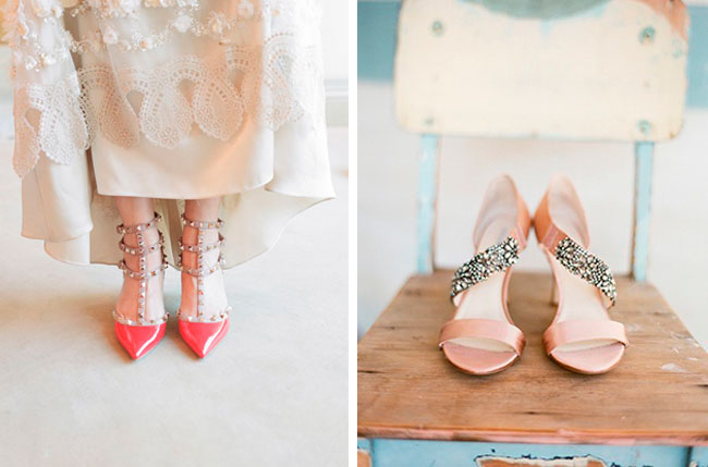 valentino peach bridal shoes sparkle