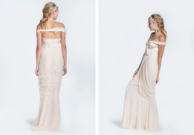 winifred bean, tulipe gown, blush bridal gown
