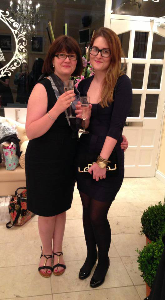 Team Peachy's Account Manager Lee King and Company Director Fiona Pain toast after the event