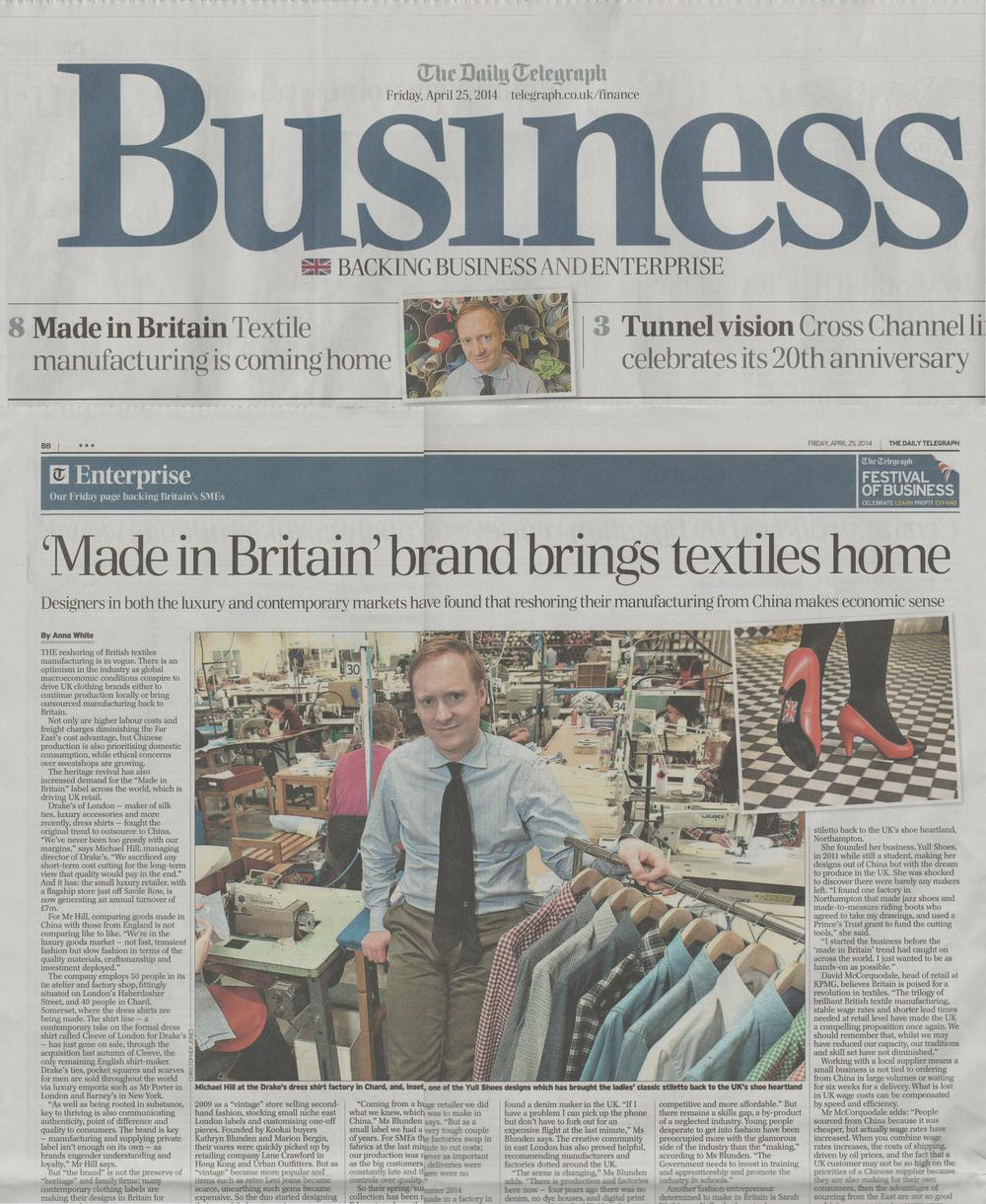 Yull claim their spot at the forefront of 'Made In Britain' with this article in The Telegraph