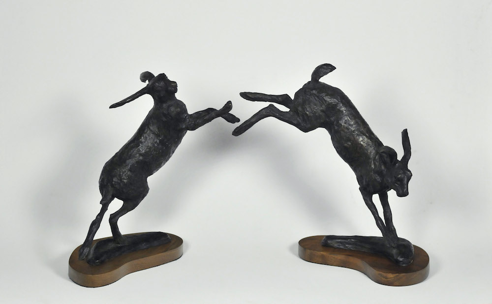 "Pair of Hares, Bronze, 12""x 24"""