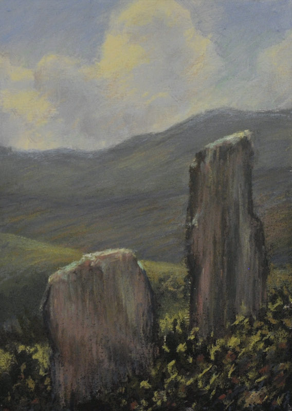 "Two Stones  , Ireland Series, Pastel, 5""x 7"""