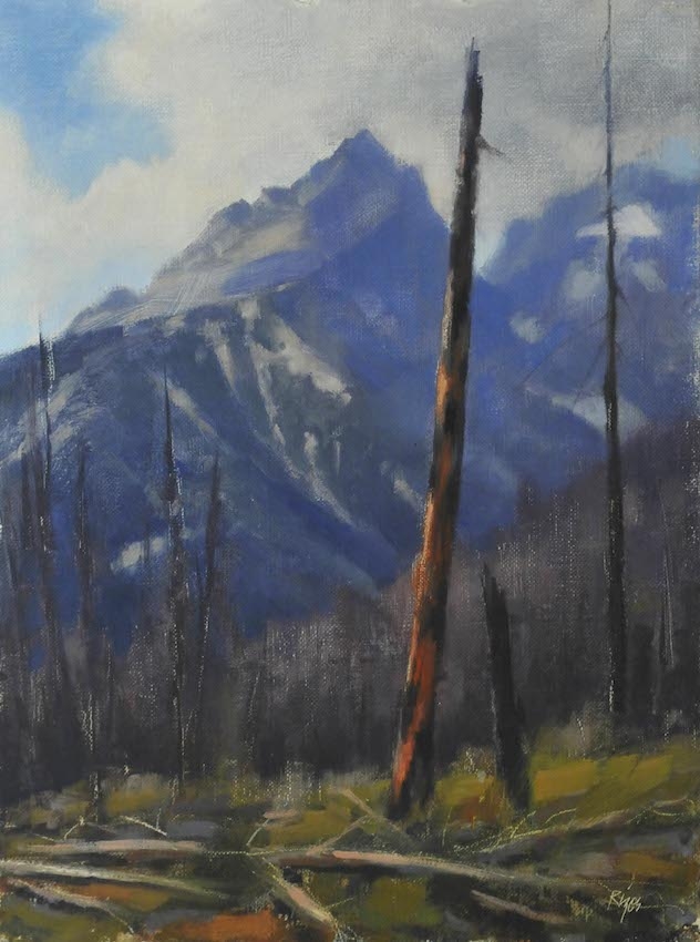 "Tetons,    Oil on Panel, 9""x 12"""