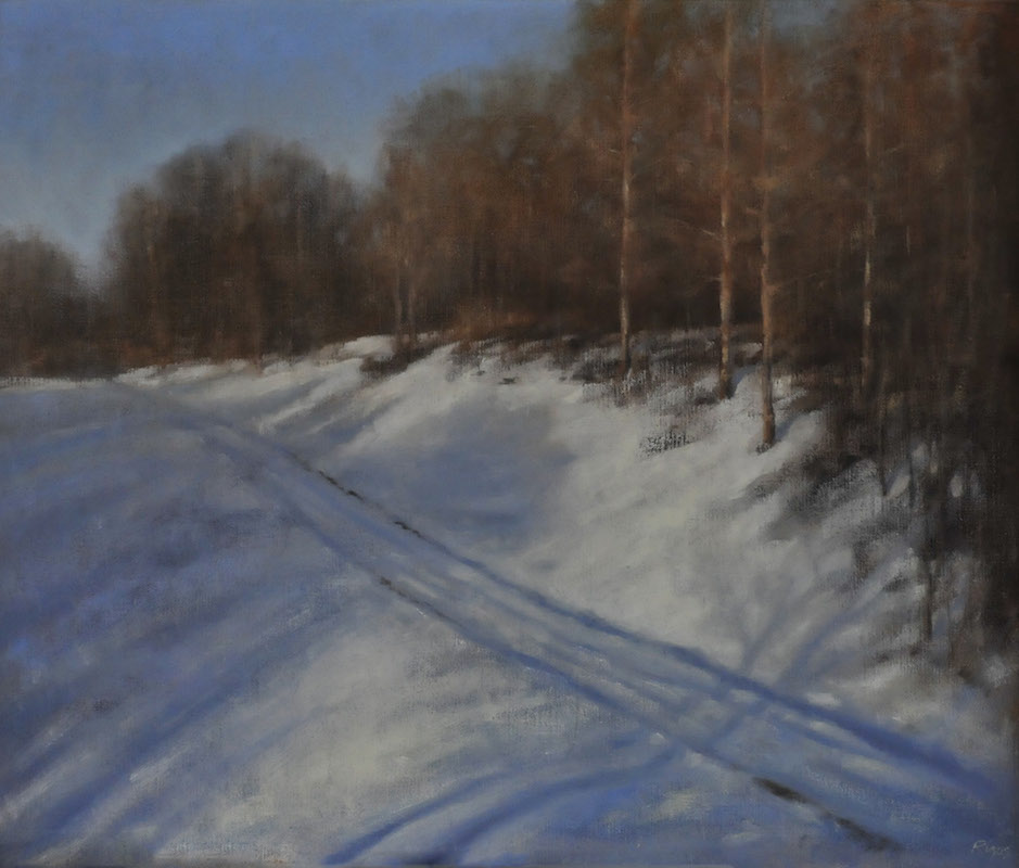 "Winter Path   , Oil on Panel, 14""x 15"""