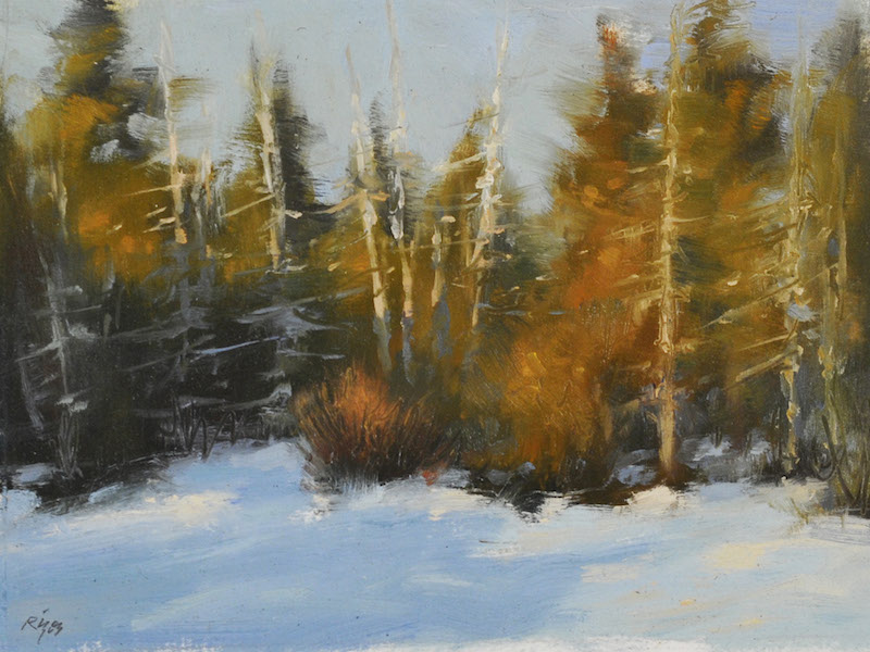 "Winter Sunset,    Oil on Panel, 6""x 8"""