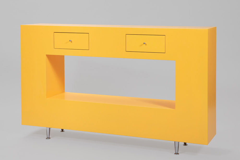 Yellow Table with Drawers