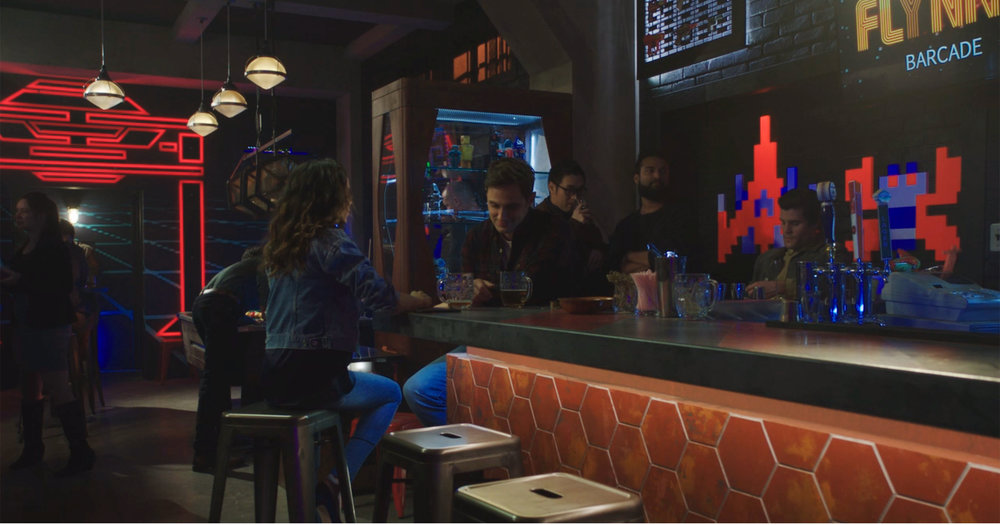 Tron Wallpaper & Tron Recognizer Design, Bar Top Graphic, & Bar Branding,  Flynn's Barcade, Ep.715