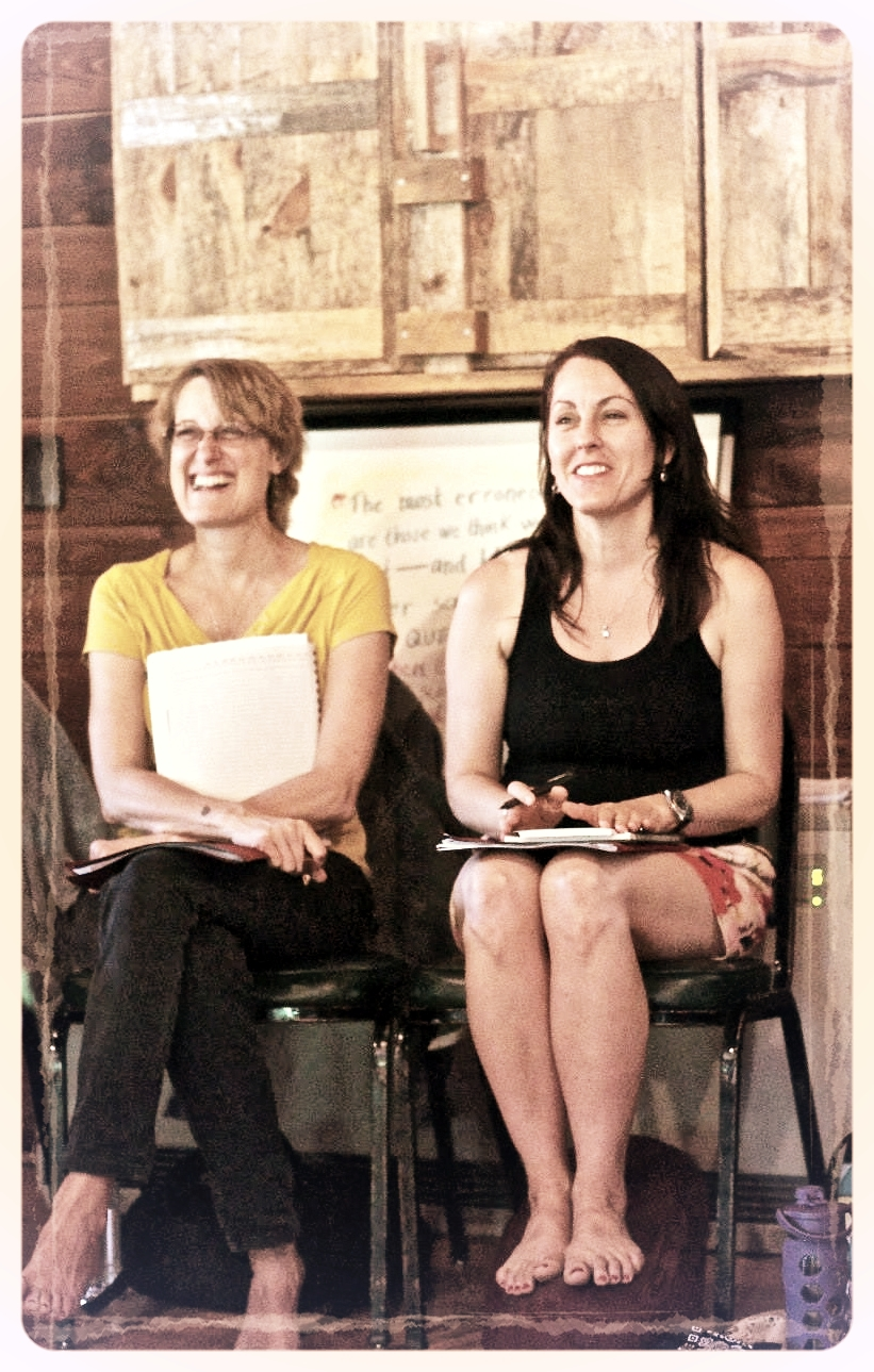 Mary Ann and me sitting side by side and having a laugh during a writing circle at the Summer Solstice Retreat.