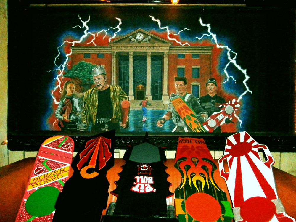 Back To The Future 2 Mural (with homemade hoverboards