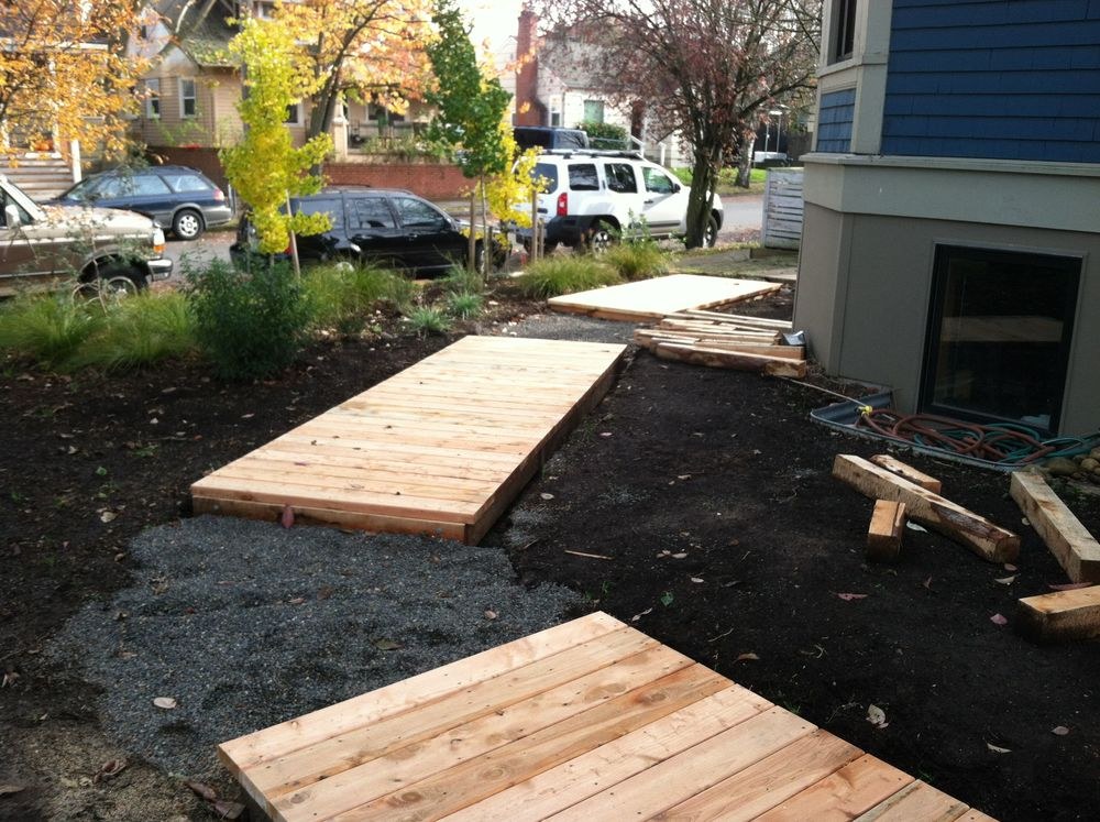 Boardwalk in process with Juniper decking