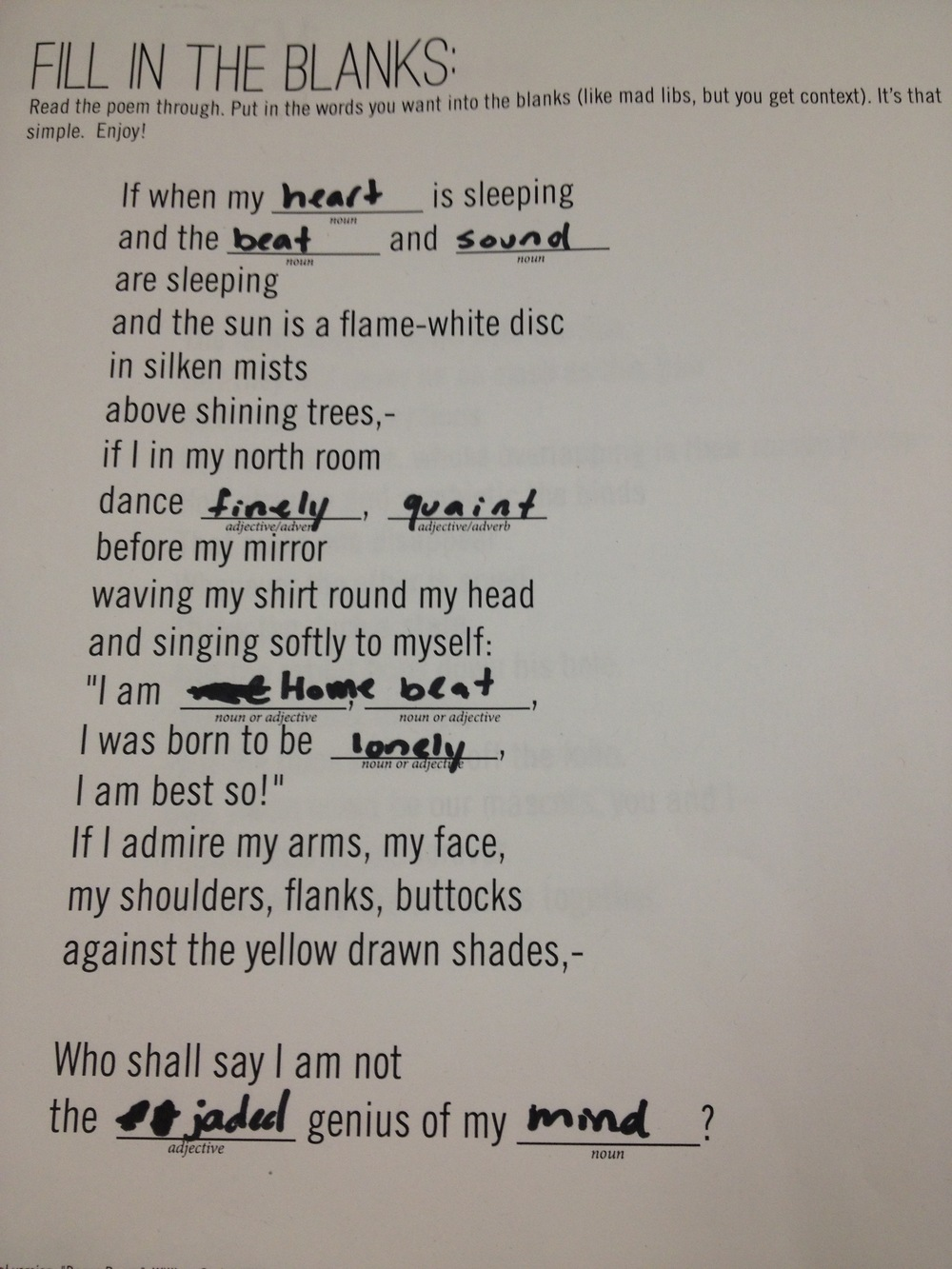Poetry Mad Libs