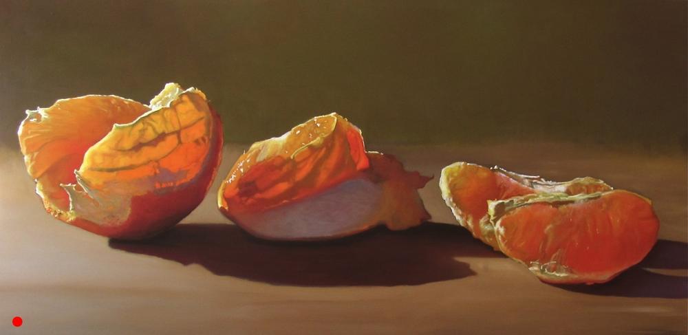 Stages of my Orange   oil on wood panel 24 x 48