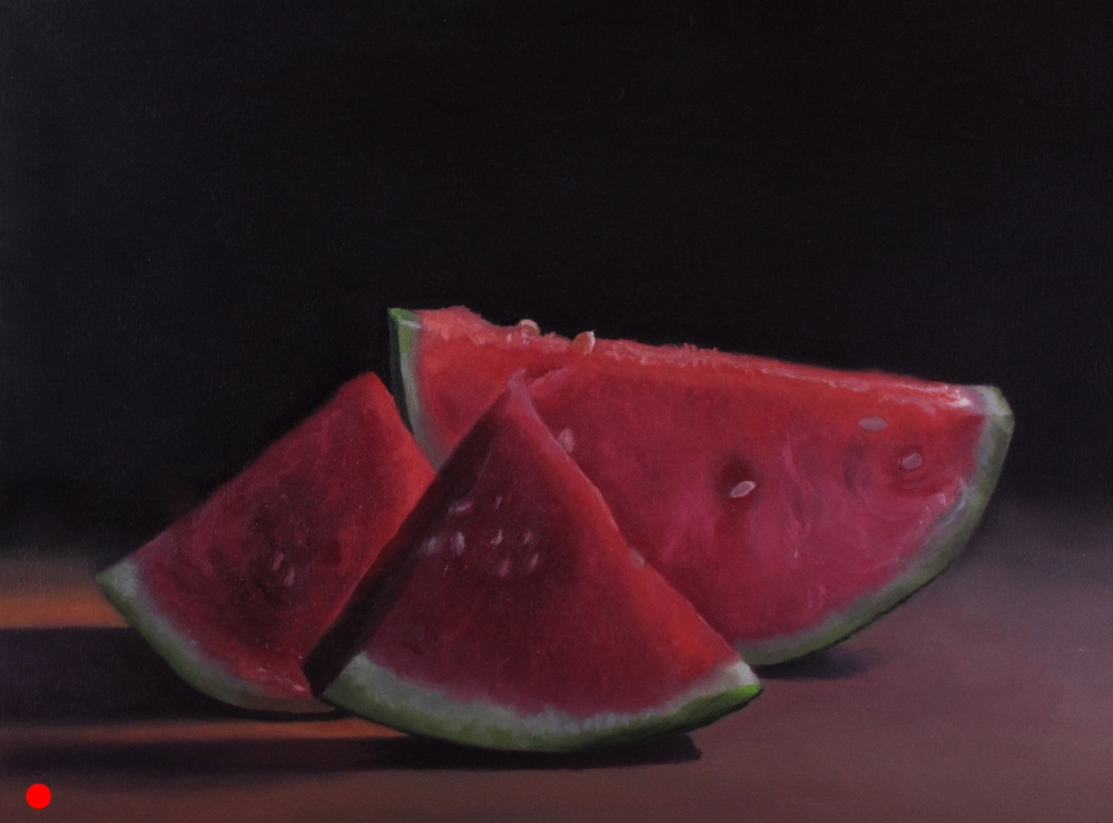Watermelon Trio  oil on wood panel 9 x 12