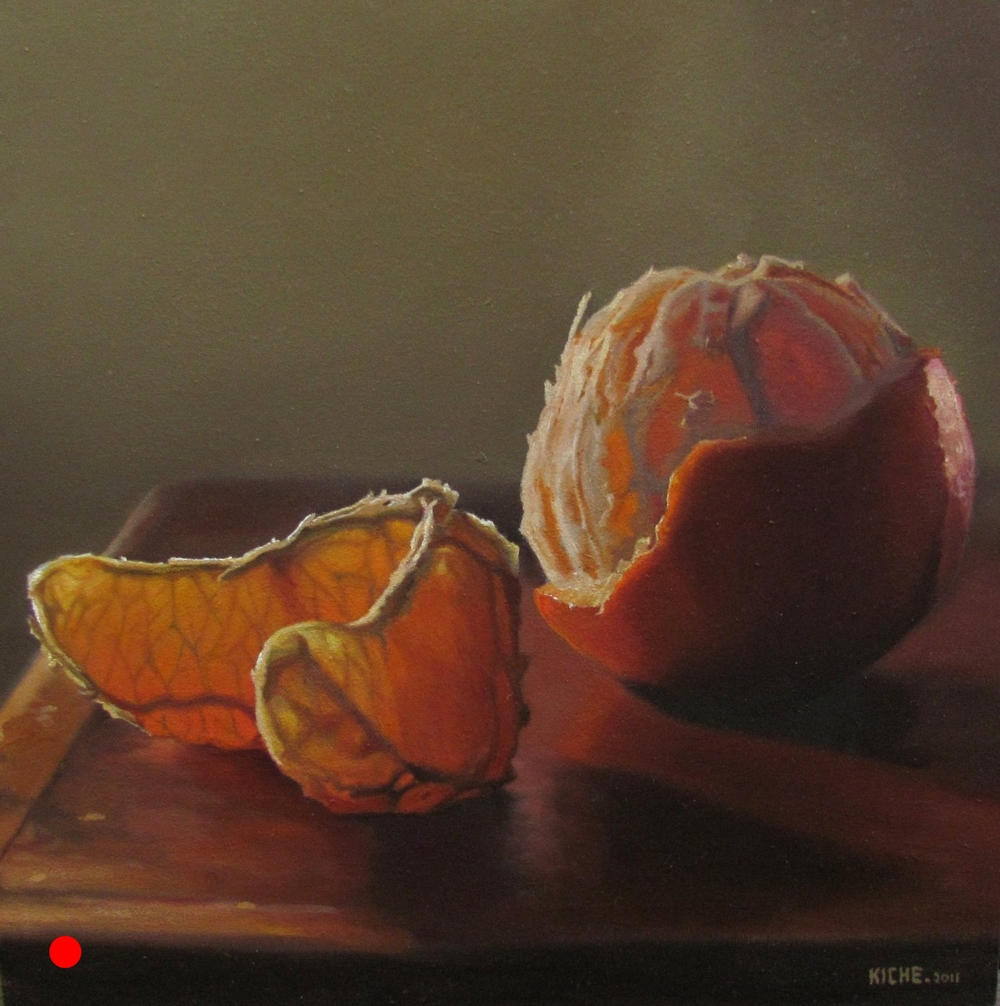 Naranjas En La Luz  oil on wood panel 12 x 12
