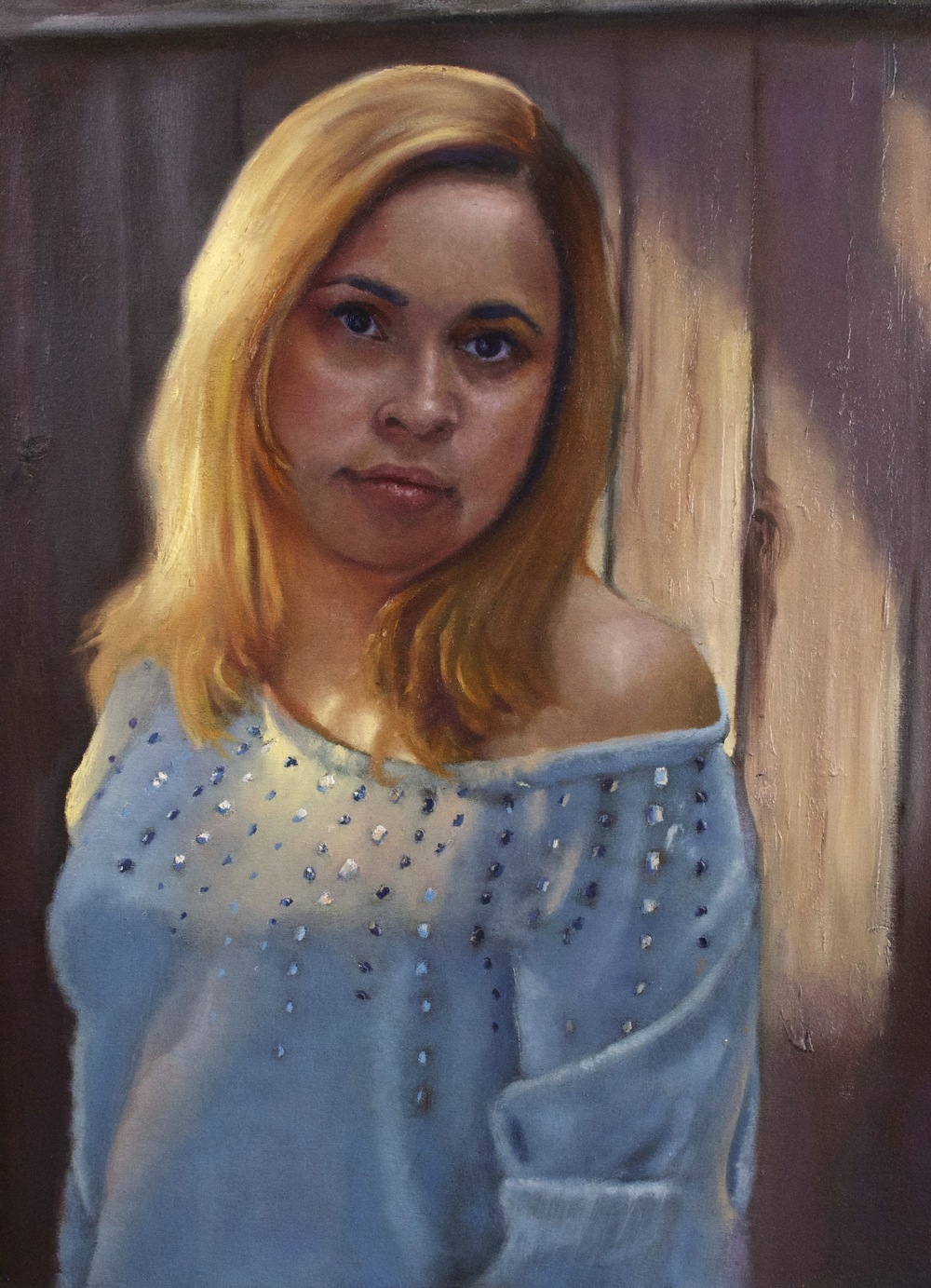 Evening light portrait of Margarita.  oil 18x24