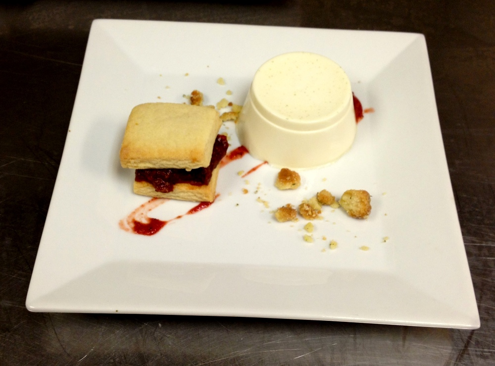 Bay Leaf Panna Cotta, featuring bay leaves from Touisset Marsh, and Rose Hip Jam Shortbread Sandwiches, featuring rose hips from Seapowet Salt Marsh