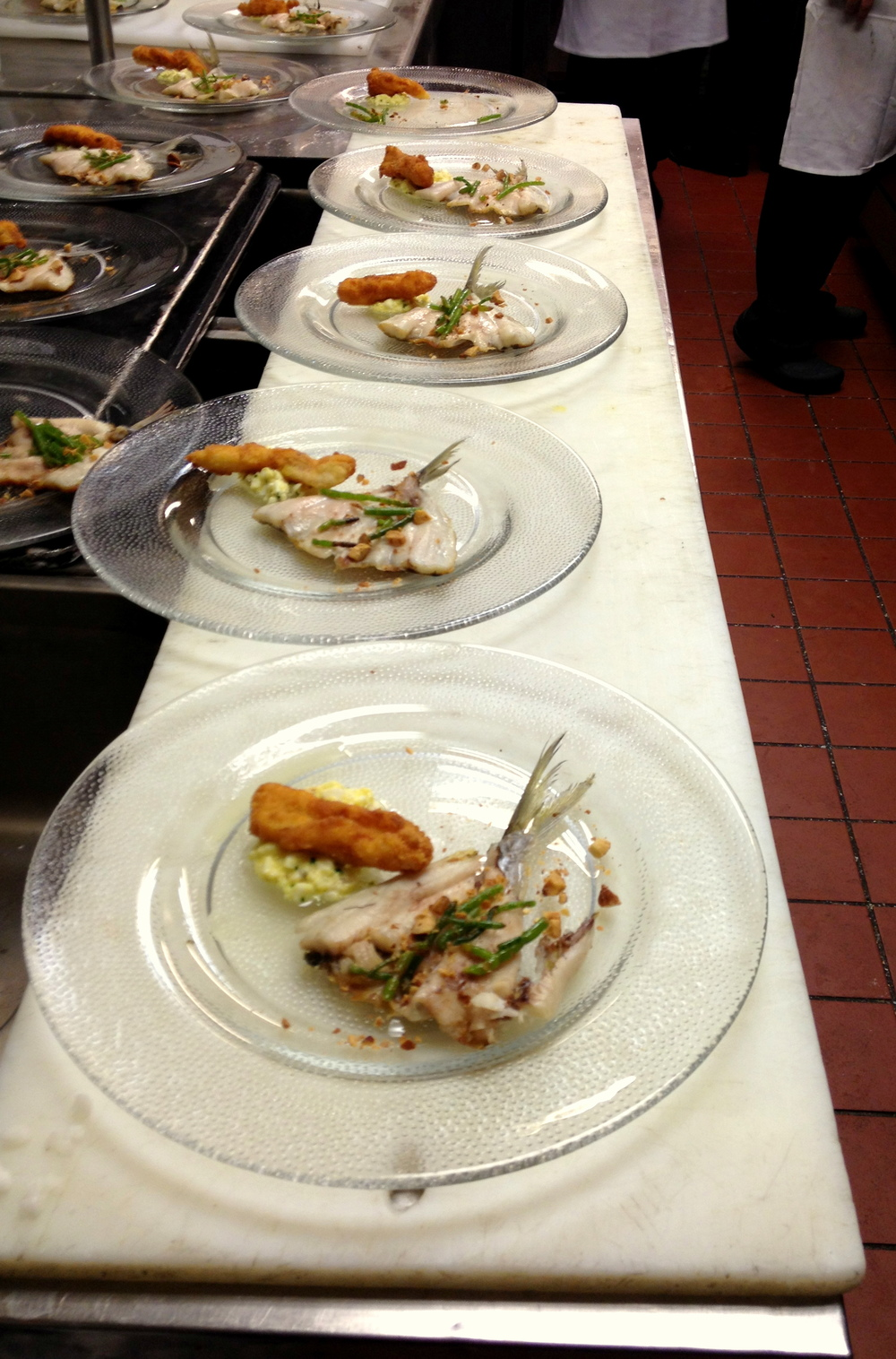 Plating butterfish almandine