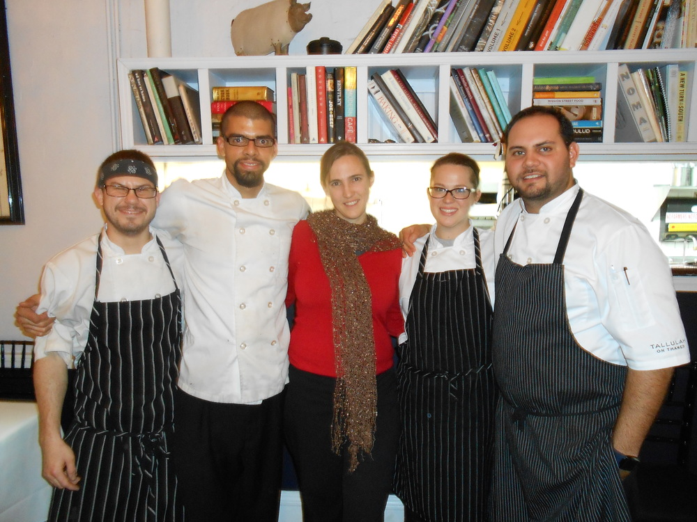 Sarah Schumann (Eating with the Ecosystem) with Chef Jake Rojas and his team