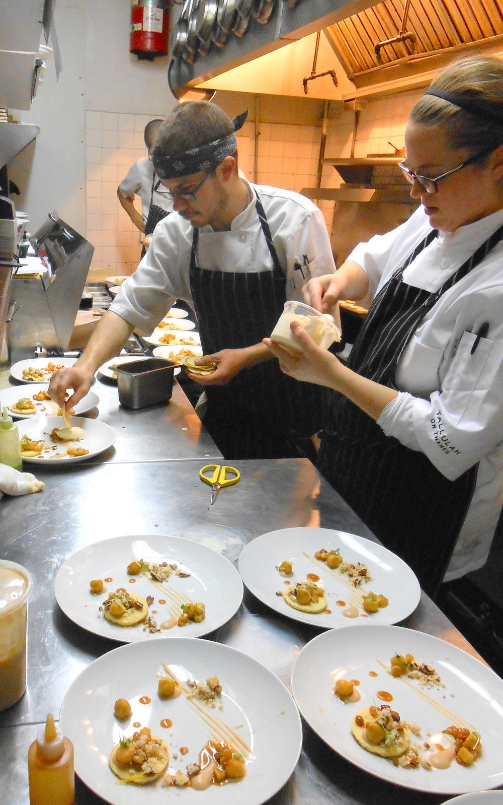 Chefs preparing dessert