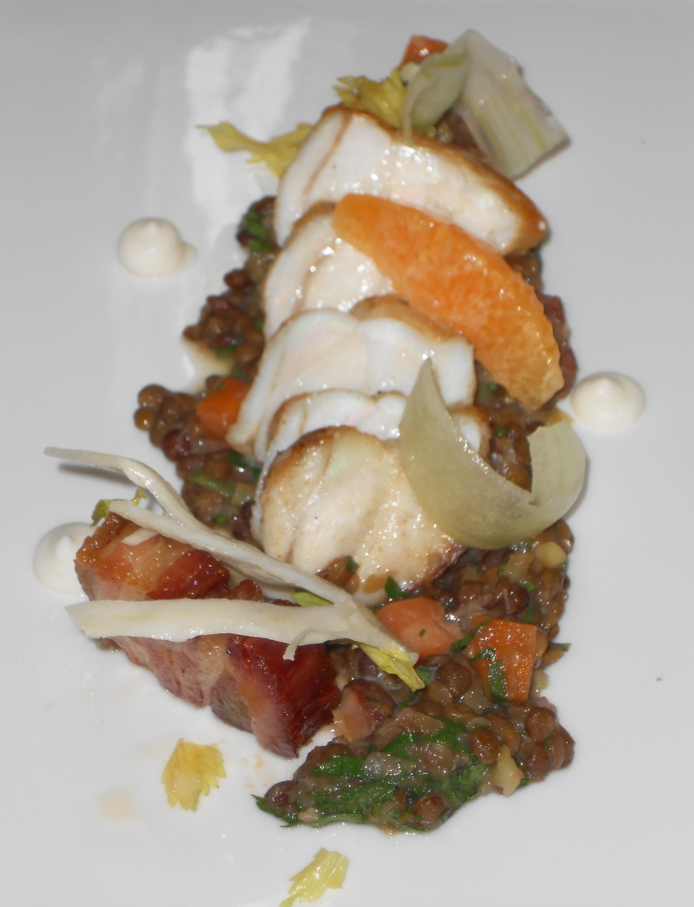 Monkfish loin with lentils du puy, pork belly, sunchoke, petite carrot, cara cara orange, and celery salad