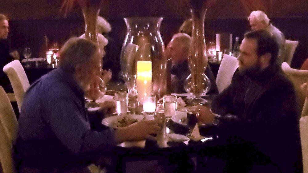 Lobsterman Dave Casoni and ecologist Dave Casoni enjoy dinner