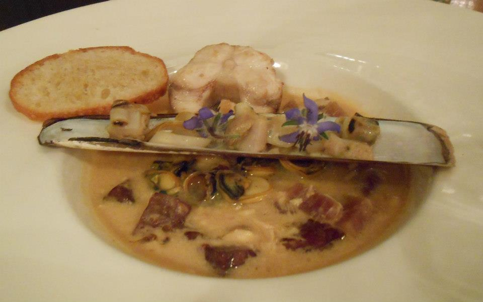 Fisherman's Stew  Dogfish, Scup, Slipper Limpets, Razor Clams, Kielbasa, Potatoes, Saffron-Tomato Broth