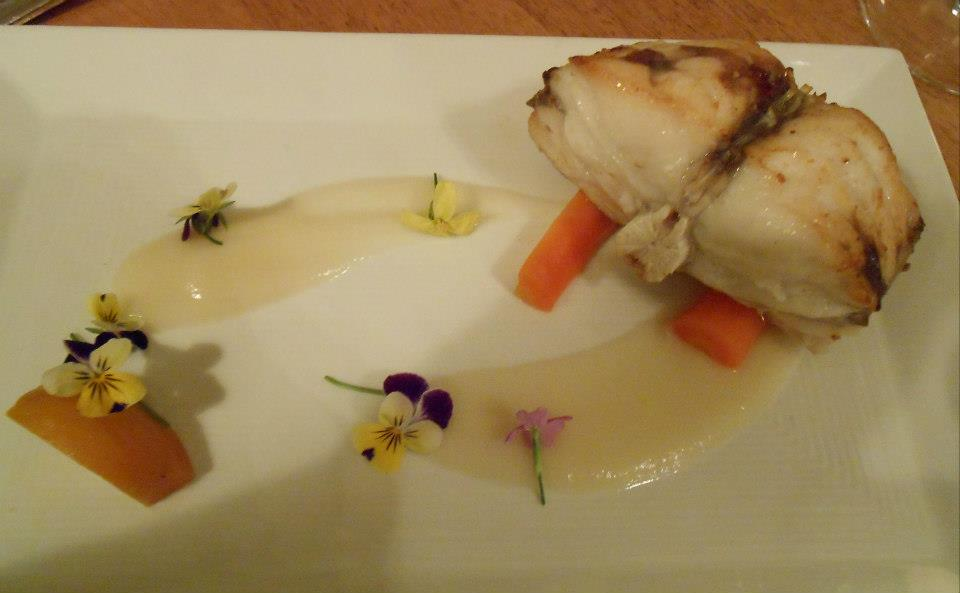 Monkfish  Pan-Roasted & Mousseline, parsnip-celeriac puree, carrot mostada, pickled beets