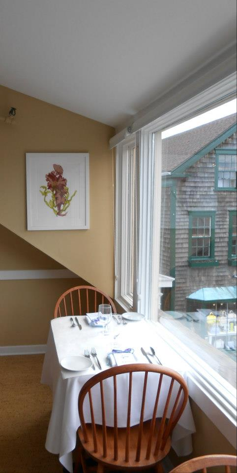 The walls were adorned with whimsical seaweed prints created by Jamestown artist Mary Chatowsky Jameson.