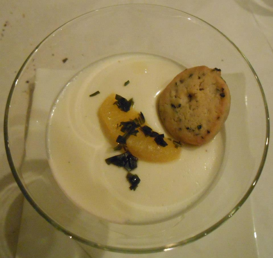 Dessert: buttermilk panna cotta with meyer lemon compote and suger kelp shortbread.