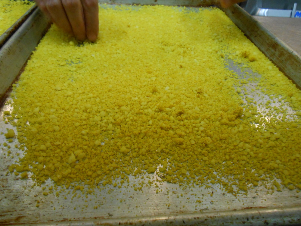 Parmesan crumbles; will be used as coating on the pollock