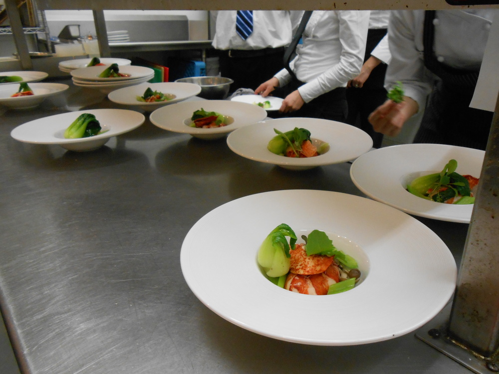 Plating the lobster course