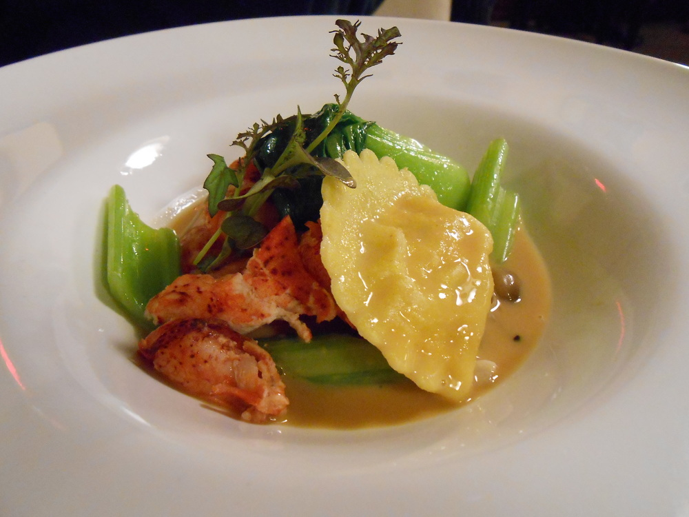 Fourth course: Butter-poached Lobster with Celery, Bok Choy, Beech Mushrooms, Shrimp Ravioli, and Lobster Broth