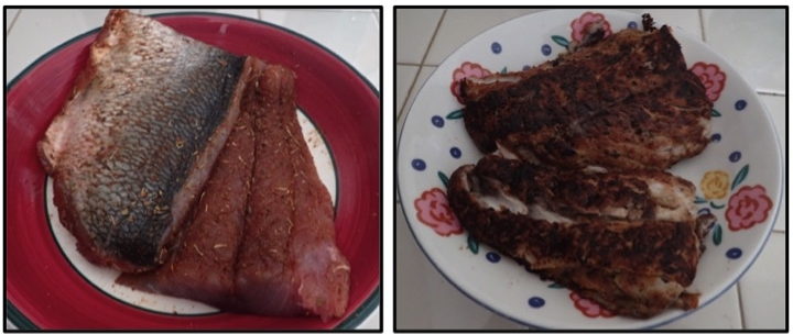 Bluefish with blackening seasoning (left), Blackened bluefish (right)