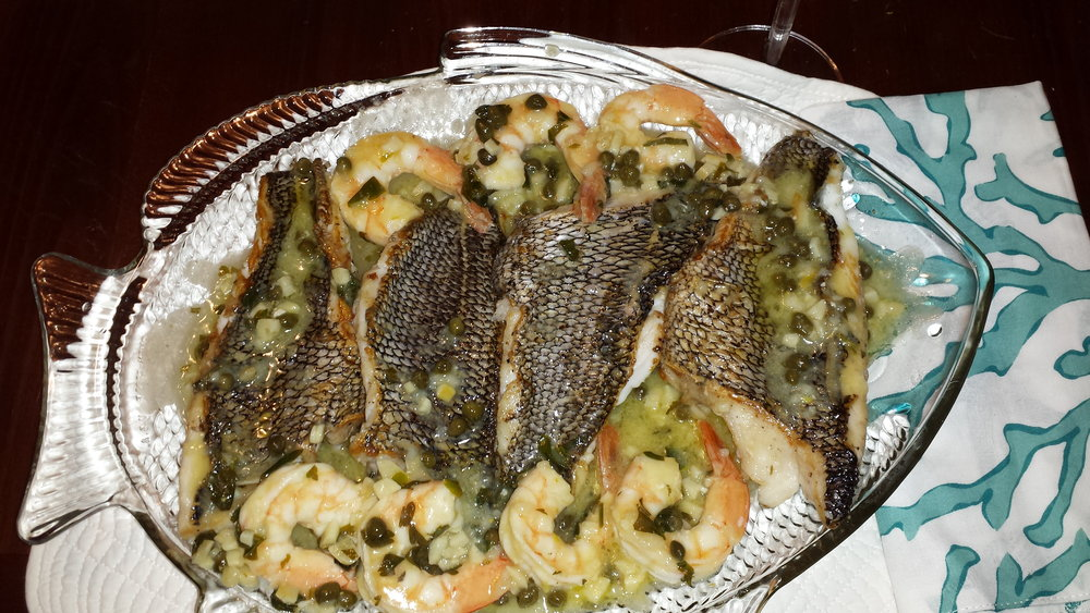 Black Sea Bass with Shrimp in a Lemon Scampi Sauce