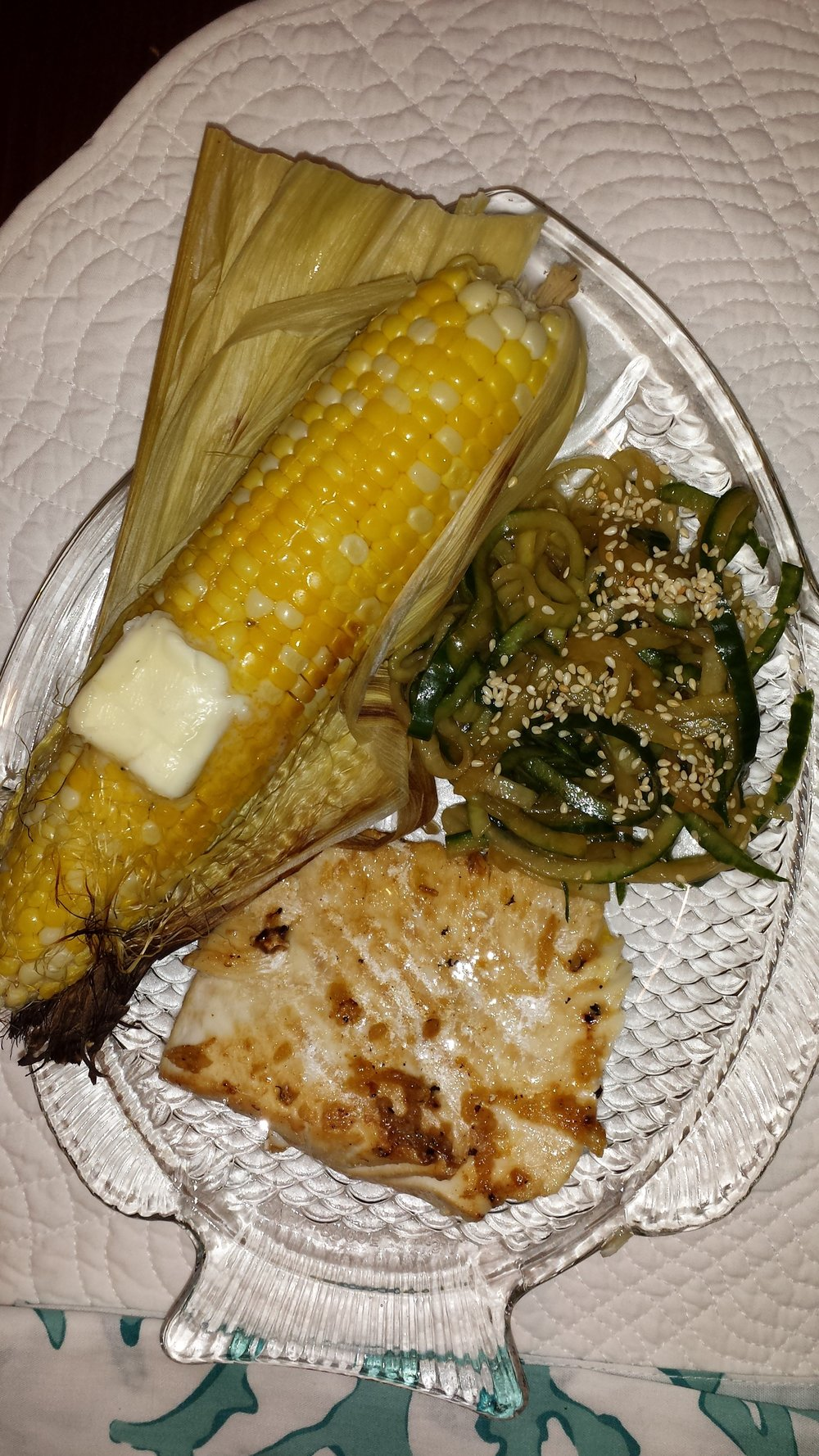 Grilled halibut w/sesame cucumber salad and corn on the cob