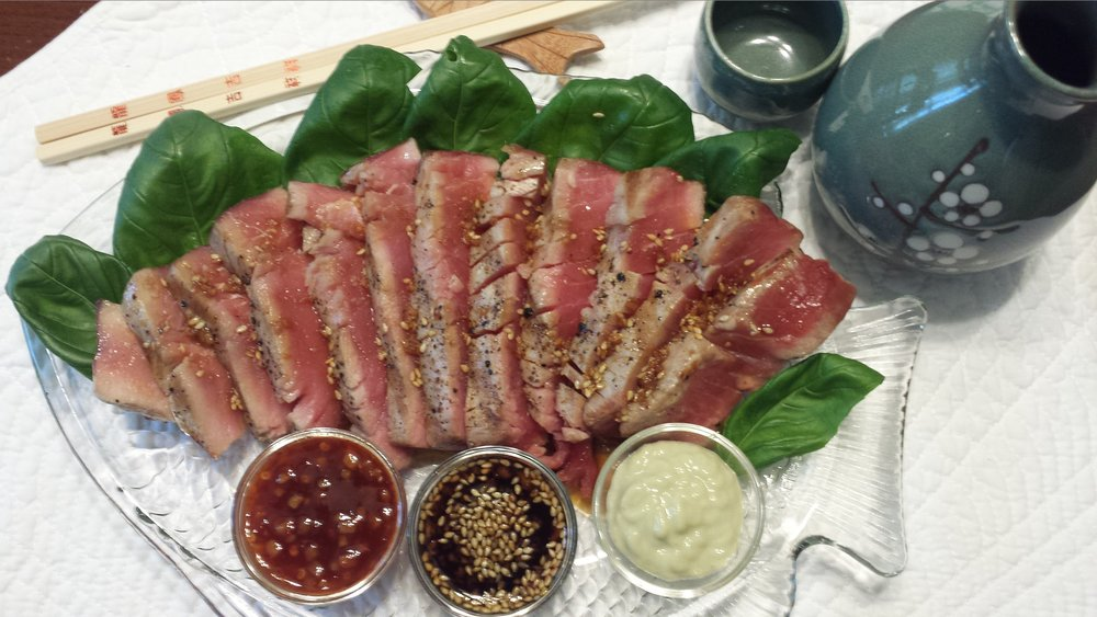 Grilled Ahi Tuna with Trio Sauces