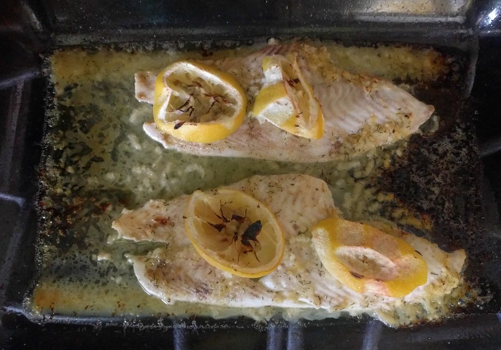 Baked and Broiled Yellowtail Flounder with Lemon, Butter, Garlic and Dill