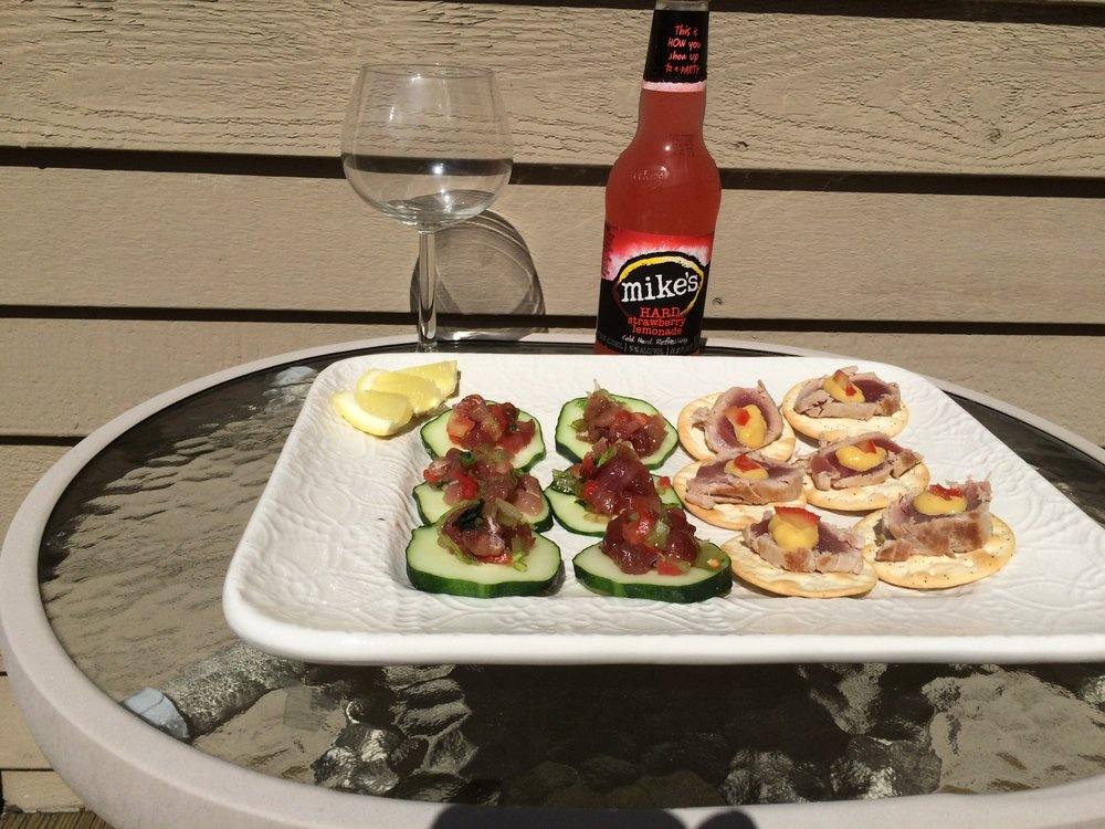 Appetizers on the deck