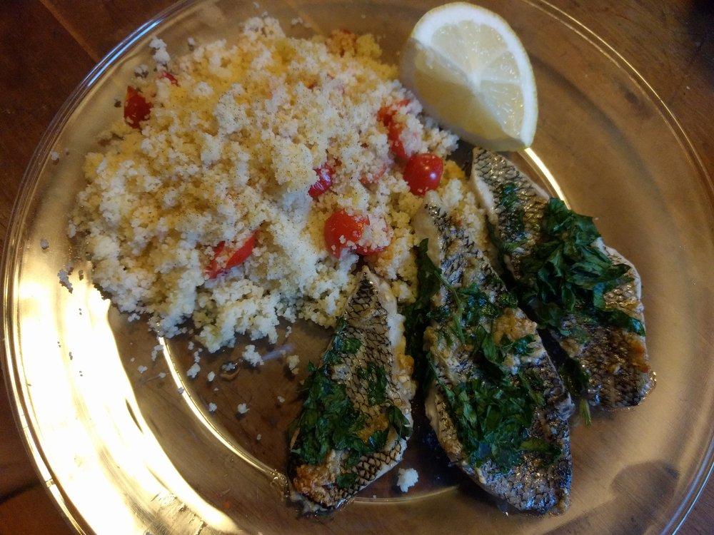 Black Sea Bass baked with garlic and white wine vinegar