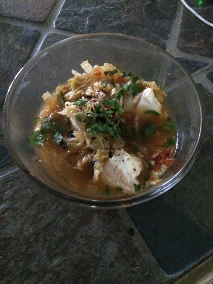 Southeast Asian fish stew with halibut and savoy cabbage