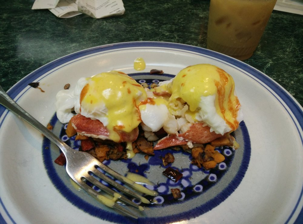 Lobster Benedict on sweet potato hash. Everything from scratch