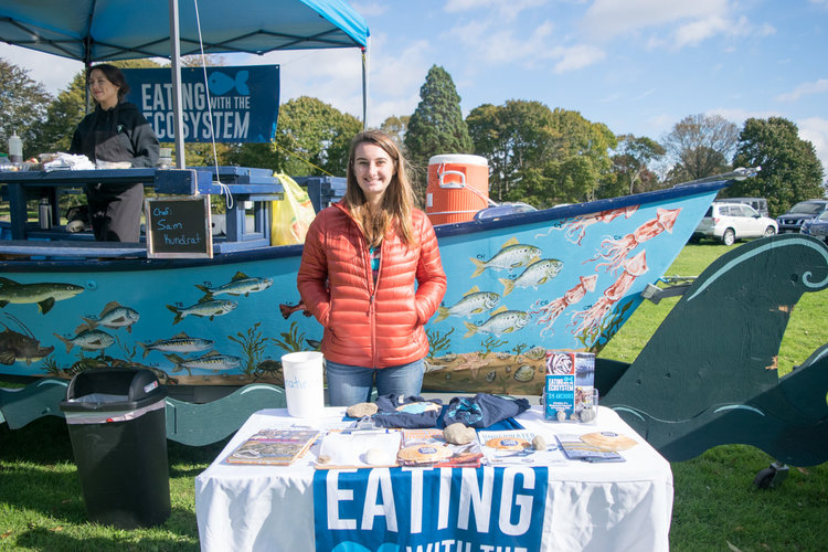Hayley volunteering at one of Eating with the Ecosystem's Scales & Tales Food Boat events this fall.