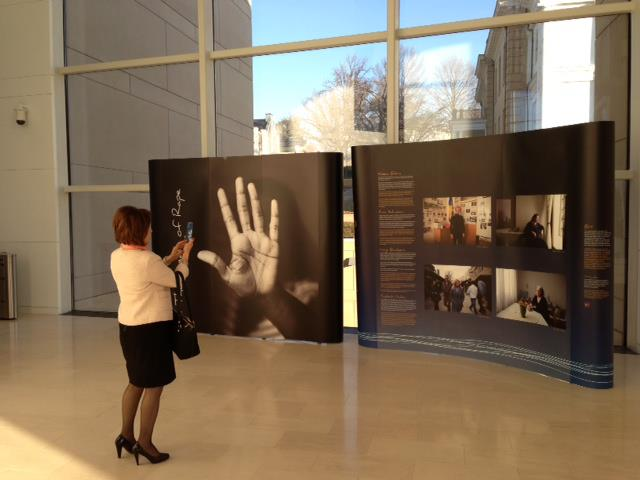 """The Legacy of Rape"" exhibit, on display at the United States  Institute of Peace, Washington D.C, as part of The Missing Peace  Symposium, February 12-16, 2013."