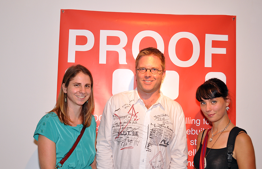 Photo: Opening night at PROOF's  Emerging Photographer's Award Exhibitions. Pictured are (from right to  left) winner Allyse Pulliam, and Honourable mention finalists Matthieu  Zellweger (center) and Michelle Gerster.  Photo: Juliana Echavirra.